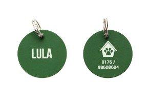 Runde Hundemarke mit Gravur (Beispiel)