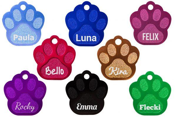 Hundemarken Pfoten-Form mit Beispiel-Namen