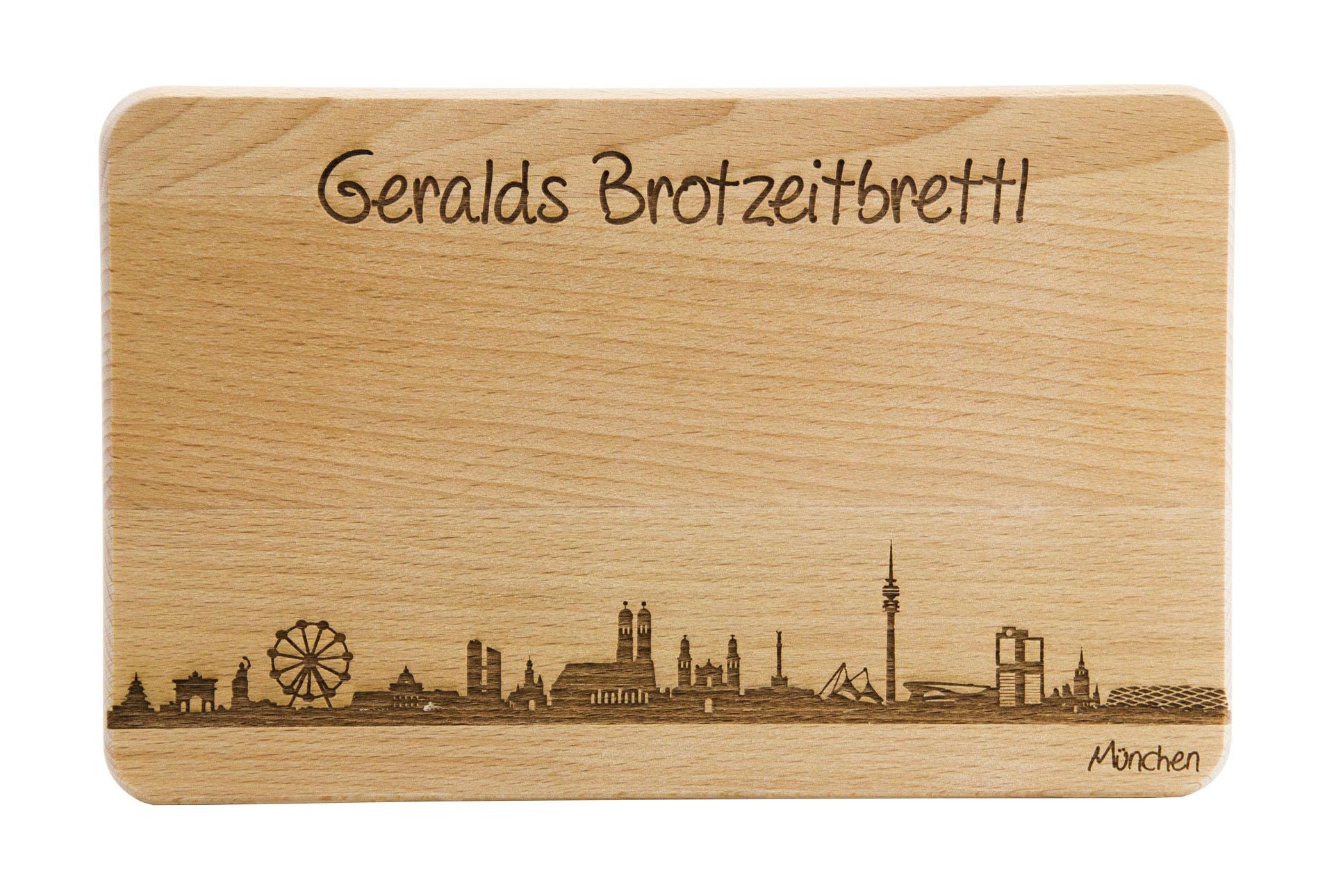 Brotzeitbrett mit skyline von m nchen und pers nlicher - Geschenkeshop online ...
