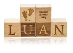 Namenswürfel Set zur Geburt