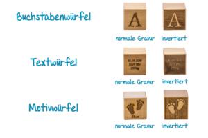 Namenswürfel mit Gravur