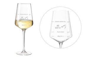 Wie geht's Weinglas mit originellem Motiv